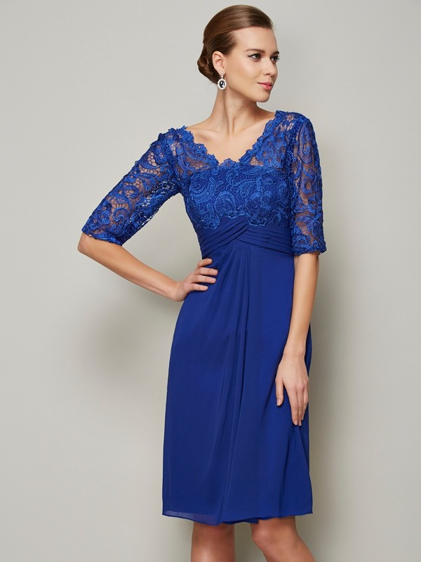 Chicregina Sheath V-neck Lace Chiffon 1/2 Sleeves Knee-Length Mother Of The Bride Dress With Ruched