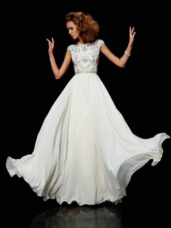 Chicregina Ball Gown Chiffon High Neck Short Sleeves Long Dress With Lace