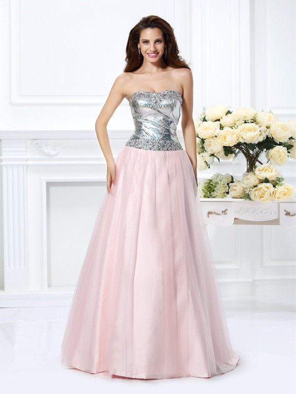 Chicregina Long Ball Gown Sweetheart Satin Dress With Ruffles Beading