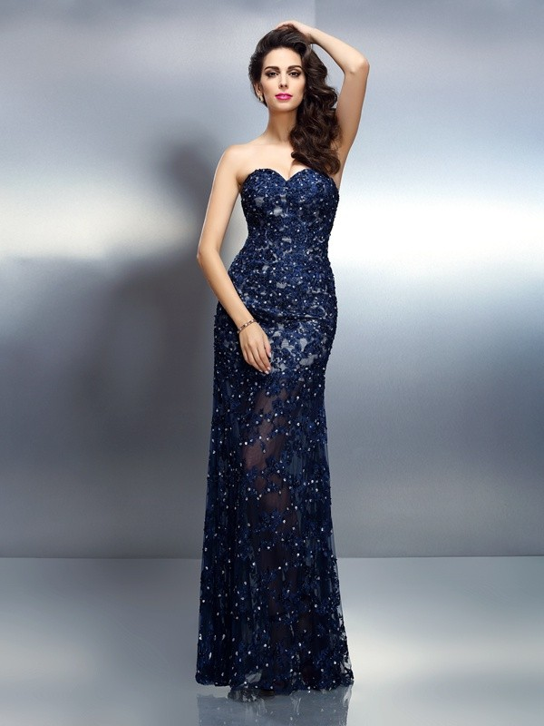 Chicregina Long Trumpet Sweetheart Beading Elastic Woven Satin Dress With Lace