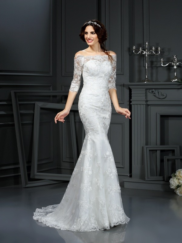 Chicregina Sheath Off-the-Shoulder 1/2 Sleeves Sweep Train Wedding Dress With Embroidery