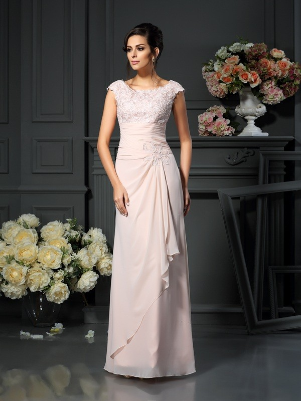 Chicregina A-Line Scoop Floor-Length Lace Chiffon Mother Of The Bride Dress With Embroidery