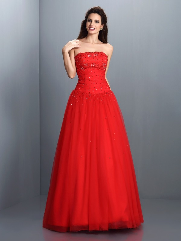Chicregina Ball Gown Strapless Long Organza Dress with Beading
