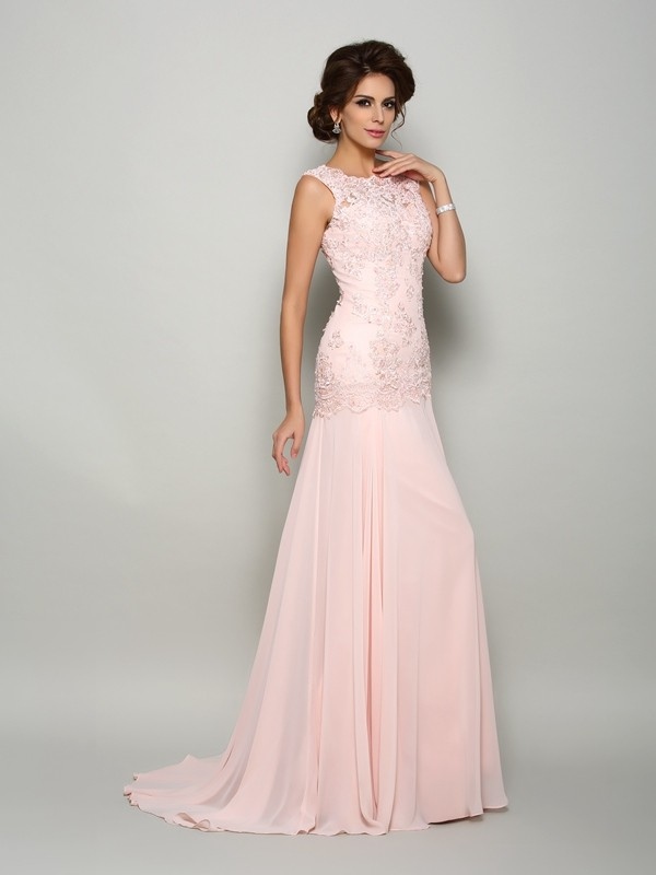 Chicregina Trumpet/Mermaid Scoop Sweep/Brush Train Chiffon Beading Mother Of The Bride Dress with Rhinestone