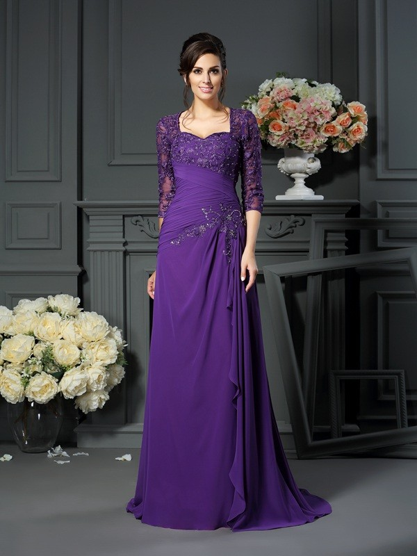 Chicregina A-Line/Princess Sweetheart 1/2 Sleeves Floor-Length Chiffon Mother Of The Bride Dress with Applique