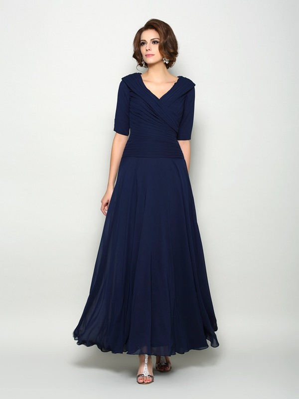 Chicregina A-Line/Princess 1/2 Sleeves V-neck Ankle-Length Chiffon Mother Of The Bride Dress with Pleats