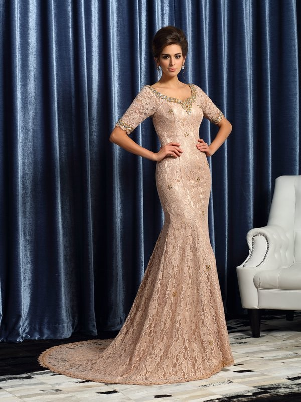 Chicregina Trumpet/Mermaid V-neck Short Sleeves Elastic Woven Satin Lace Court Train Mother Of The Bride Dress with Ruched