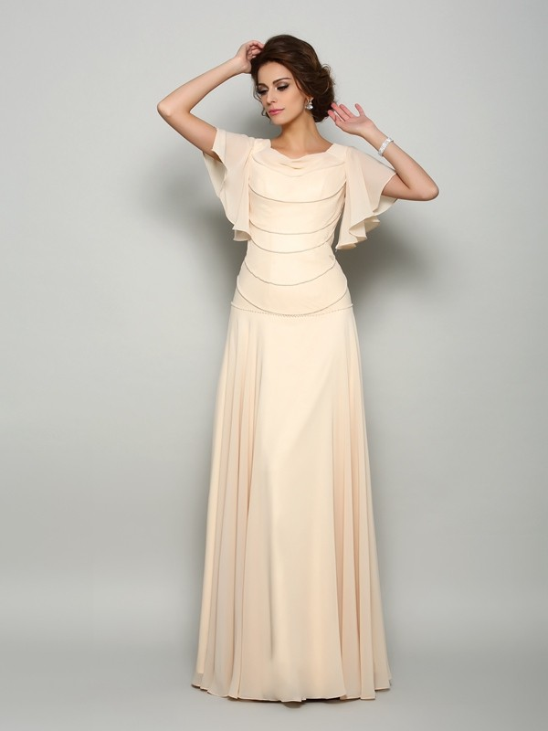 Chicregina A-Line/Princess Short Sleeves Square Chiffon Floor-Length Mother Of The Bride Dress with Ruffles Beading
