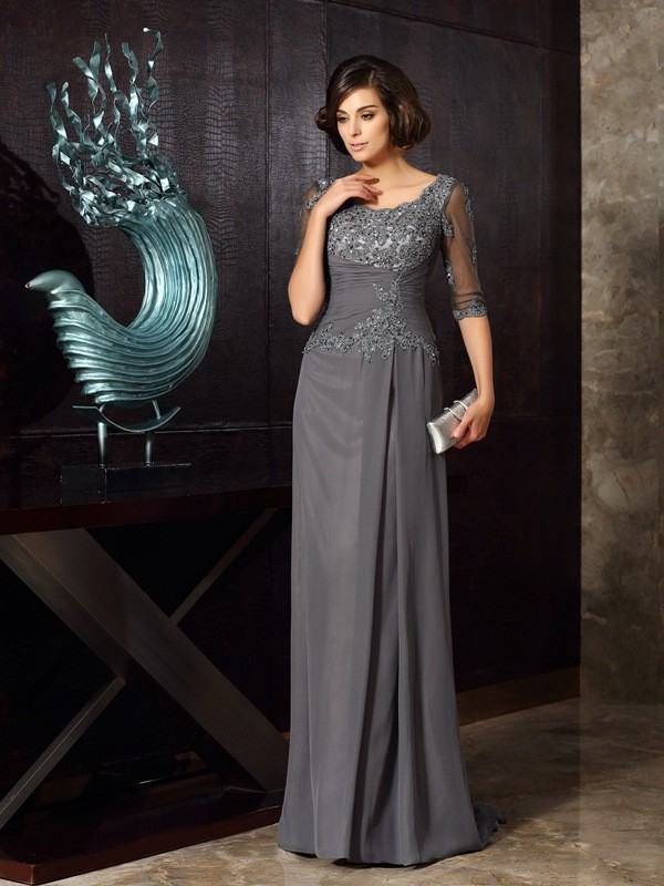 Chicregina A-Line/Princess Scoop Chiffon 1/2 Sleeves Applique Sweep/Brush Train Mother Of The Bride Dress with Rhinestone