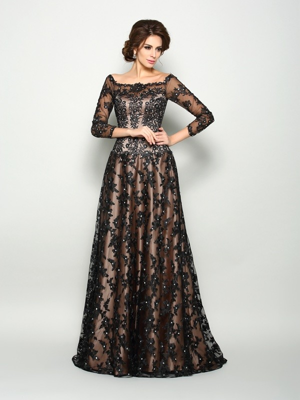 Chicregina A-Line/Princess Off-the-Shoulder 3/4 Sleeves Satin Lace Court Train Dress with Beading