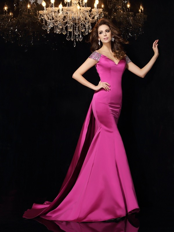 Chicregina Trumpet/Mermaid Off-the-Shoulder Satin Court Train Dress with Pleats