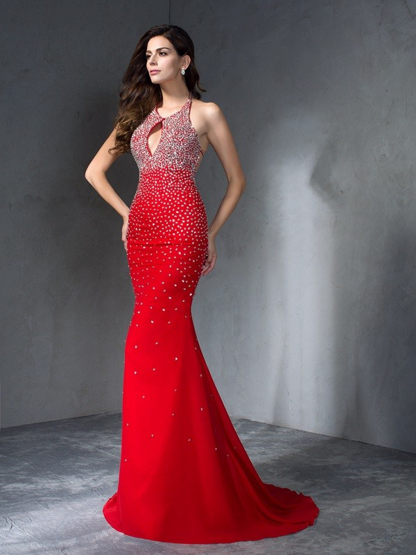 Chicregina Trumpet/Mermaid Halter Chiffon Sweep/Brush Train Dress with Beading