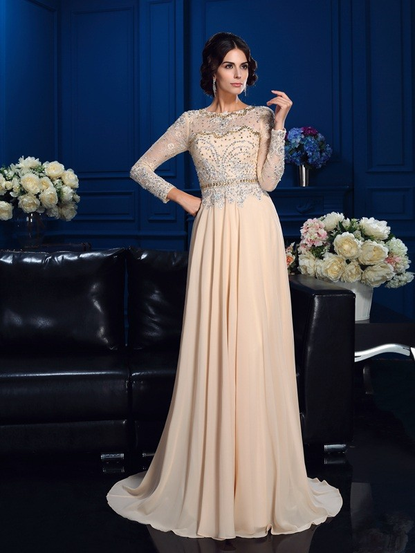 Chicregina A-Line/Princess Scoop Long Sleeves Sweep/Brush Train Chiffon Mother Of The Bride Dress with Rhinestone