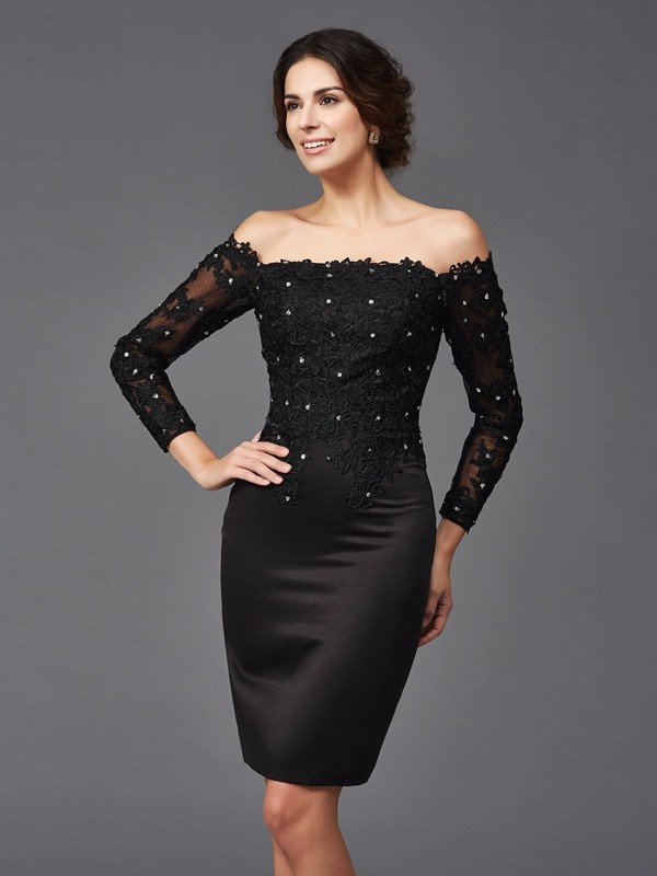Chicregina Sheath/Column Lace Long Sleeves Off-the-Shoulder Knee-Length Satin Mother of the Bride Dress with Ruffles