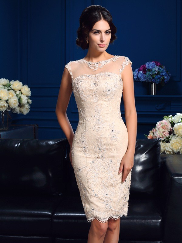 Chicregina Sheath/Column Sheer Neck Short Lace Mother Of The Bride Dress with Pleats