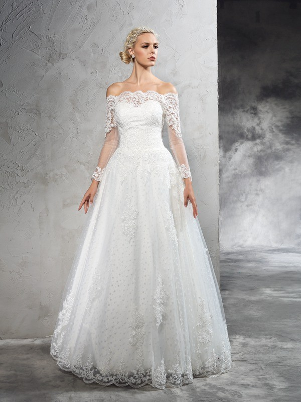 Chicregina Ball Gown Off-the-Shoulder Long Sleeves Lace Floor-Length Net Wedding Dress with Beading