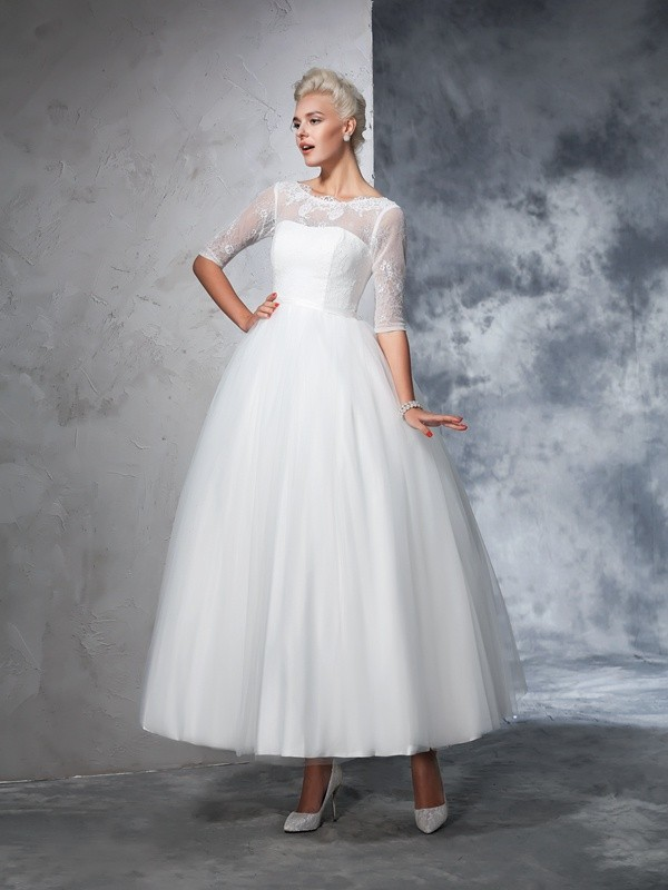 Chicregina Ball Gown 1/2 Sleeves Bateau Net Ankle-Length Lace Wedding Dress with Rhinestone