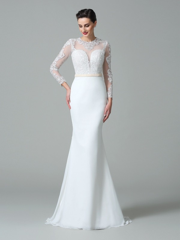 Chicregina Trumpet/Mermaid Jewel Long Sleeves Lace Sweep/Brush Train Satin Wedding Dress with Sequin