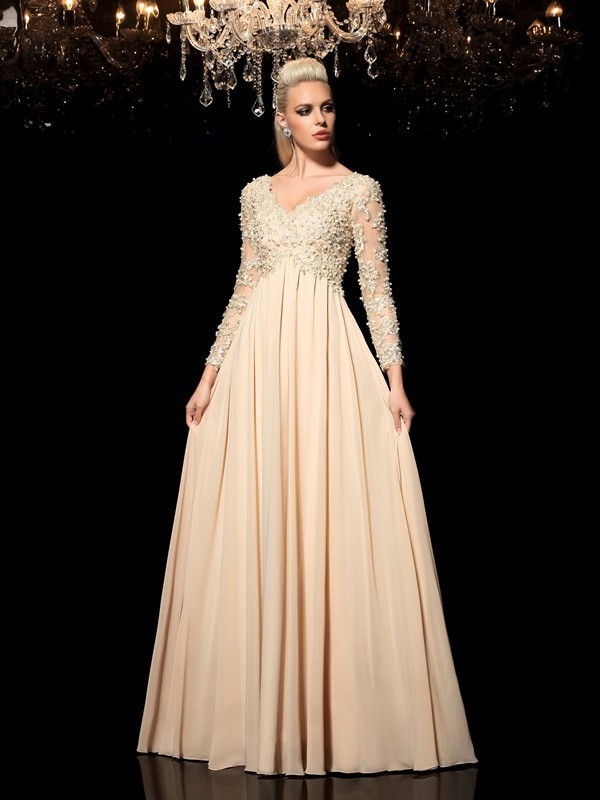 Chicregina A-Line/Princess V-neck Long Sleeves Floor-Length Chiffon Dress with Ruched Applique