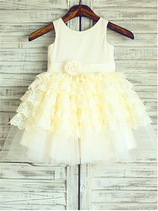 Chicregina Ball Gown Scoop Sleeveless Layers Tea-Length Flower Girl Dress with Lace