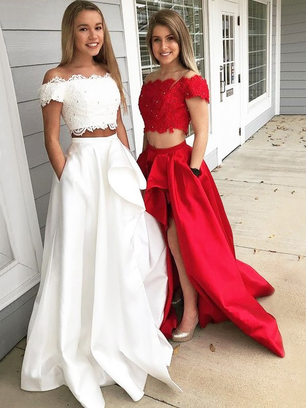 A-Line/Princess Off-the-Shoulder Sleeveless Lace Satin Sweep/Brush Train Two Piece Dresses