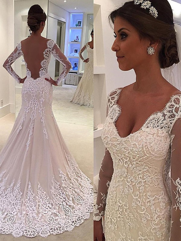 Trumpet/Mermaid V-neck Long Sleeves Lace Court Train Wedding Dresses