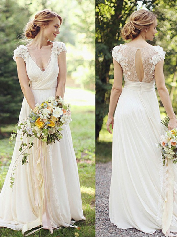 A-Line/Princess V-neck Short Sleeves Chiffon Sweep/Brush Train Wedding Dresses With Ruched