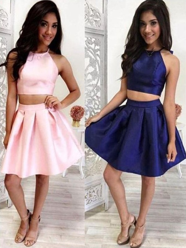 A-Line/Princess Halter Satin Sleeveless Short Two Piece Dresses With Ruffles