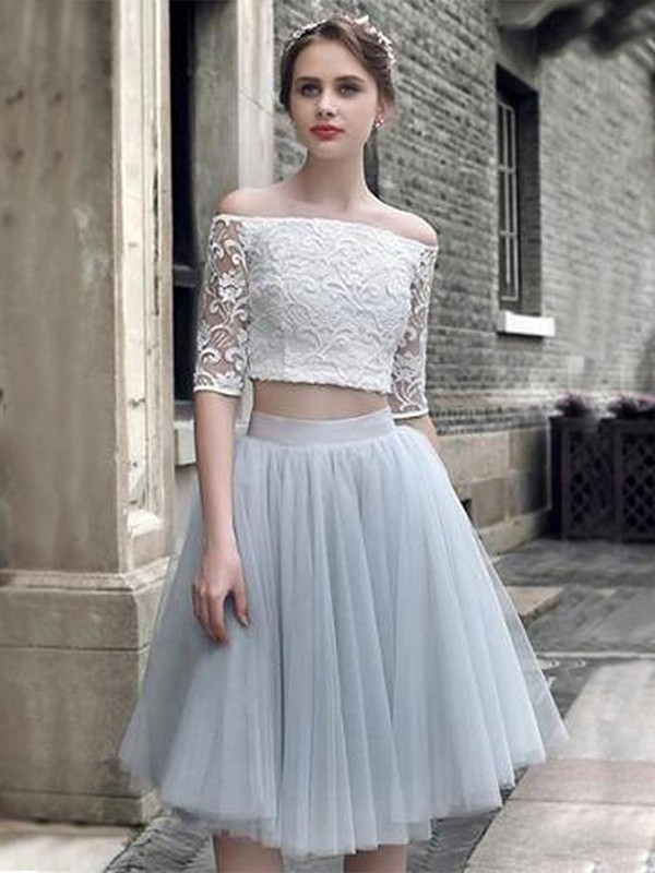 A-Line/Princess 1/2 Sleeves Off-the-Shoulder Tulle Knee-Length Two Piece Dresses With Ruched