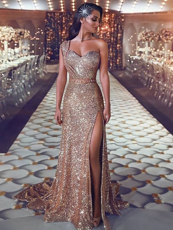Sheath/Column One-Shoulder Sleeveless Sweep/Brush Train Beading Sequins Dresses