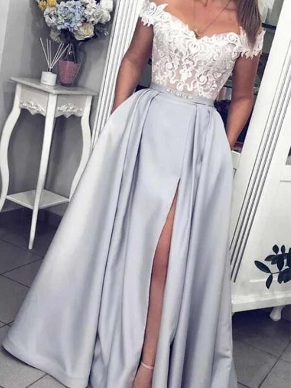 Dreaming Of You A-Line Satin Off-the-Shoulder Floor-Length Lace Sleeveless Dresses