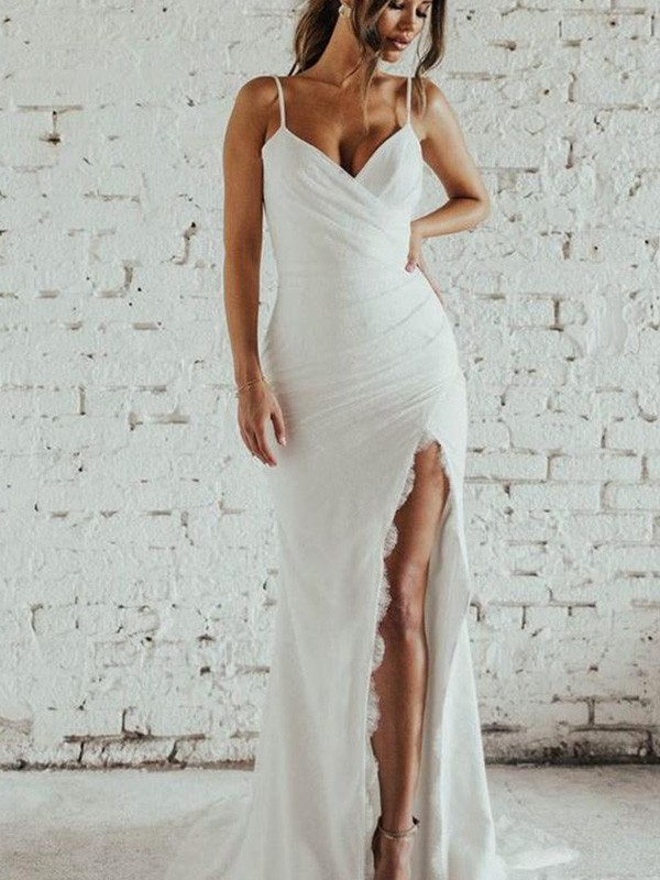 Sheath/Column Spaghetti Straps Ruched Sleeveless Lace Long Wedding Dresses