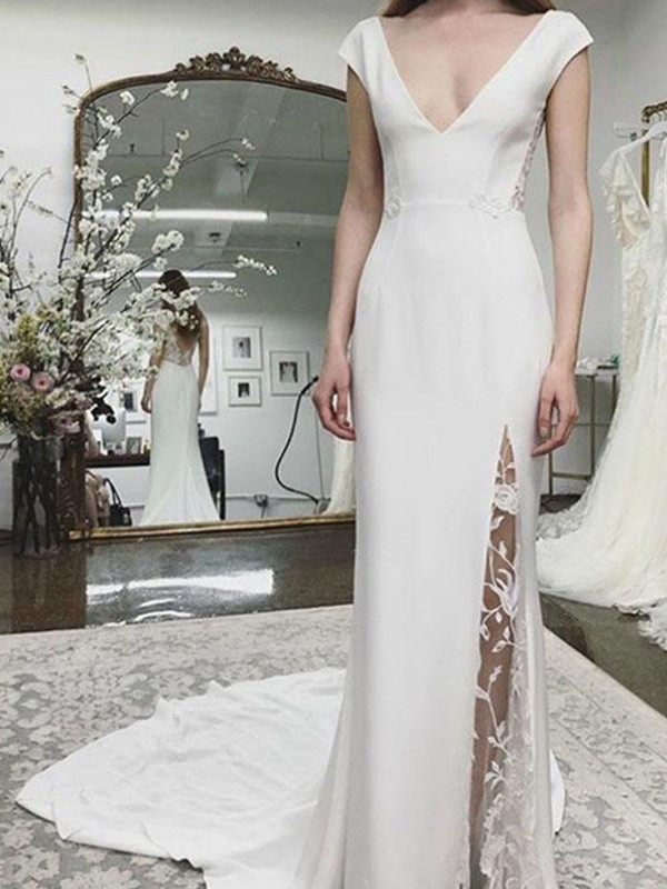 Philosophy Of Love Sheath/Column Satin V-neck Sleeveless Court Train Bridal Gown with Lace