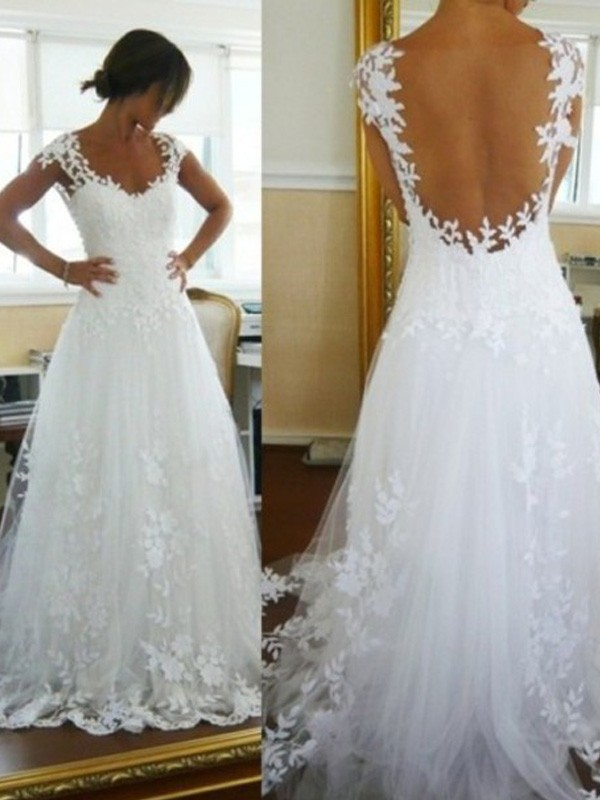 A-Line/Princess V-neck Sweep/Brush Train Sleeveless Tulle Wedding Dress With Lace