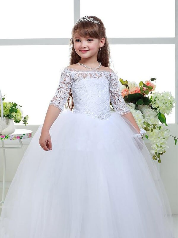 Ball Gown Off-the-Shoulder 1/2 Sleeves Lace Floor-Length Tulle Flower Girl Dresses