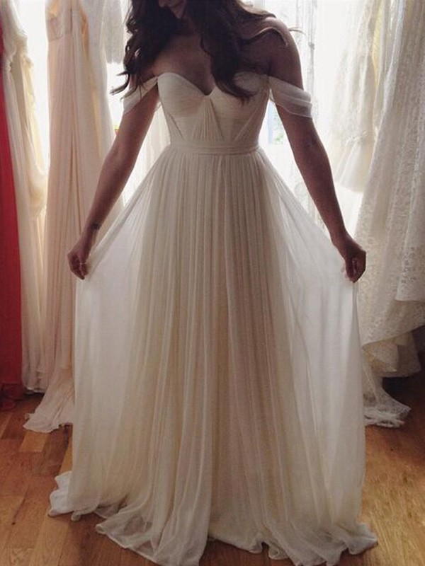 A-Line/Princess Sleeveless Off-the-Shoulder Long Chiffon Dress With Beading