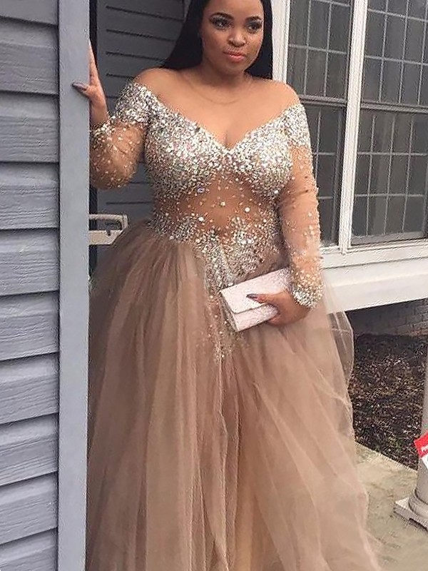 Ball Gown Off-the-Shoulder Sequin Long Sleeves Tulle Floor-Length Dresses