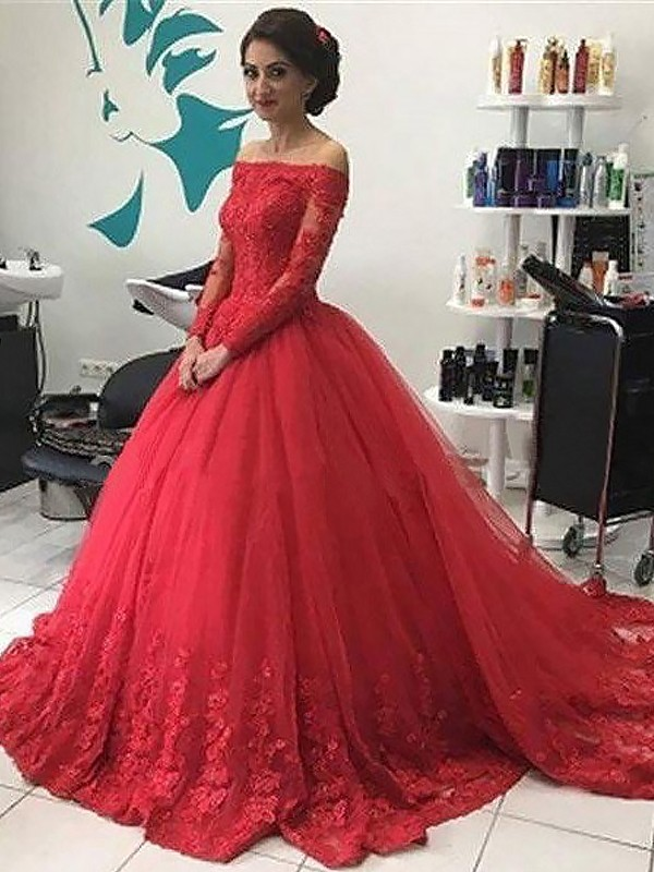 Ball Gown Off-the-Shoulder Long Sleeves Lace Court Train Tulle Dresses