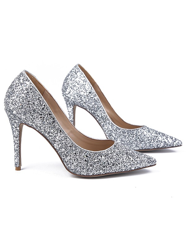 Chicregina Womens Sparkling Glitter Closed Toe Stiletto Heel Evening Shoes