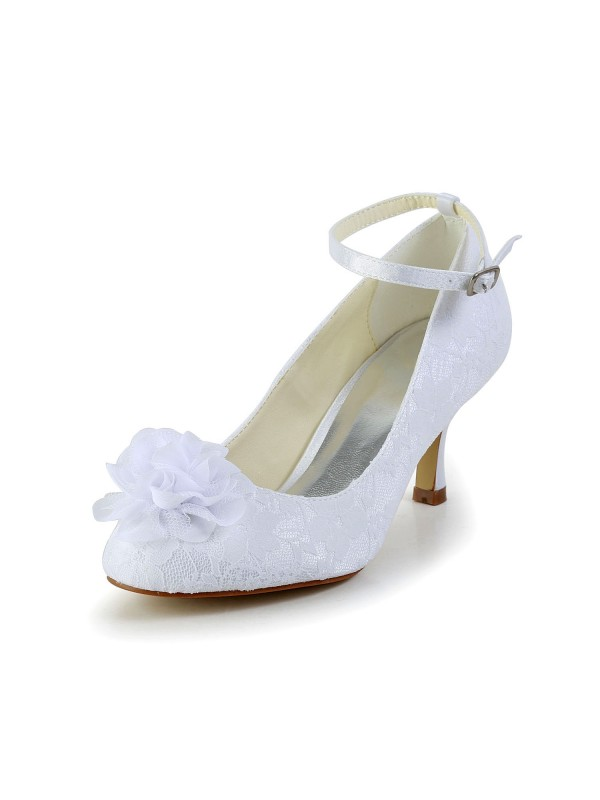 Chicregina Womens Satin Closed Toe Wedding Shoes with Flower Buckle
