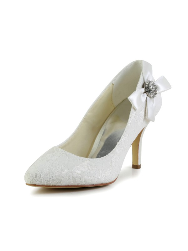 Chicregina Womens Satin Stiletto Heel Closed Toe Pumps Wedding Shoes with Bowknot Rhinestone