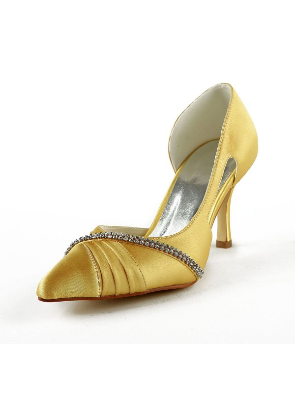 Chicregina Womens Satin Stiletto Heel Closed Toe Pumps Bridal Shoes with Rhinestone Ruched