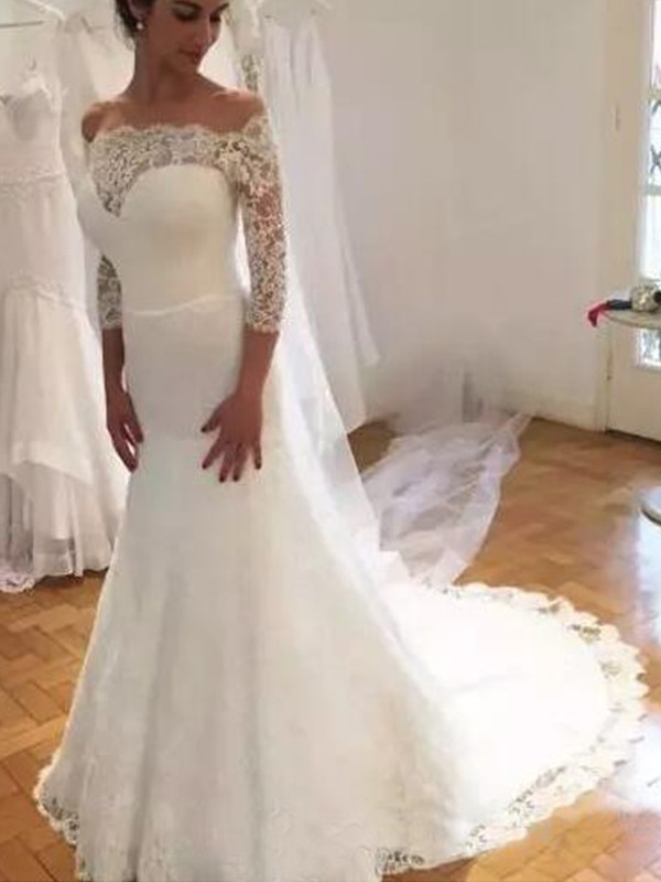Trumpet/Mermaid Off-the-Shoulder Lace Sweep/Brush Train 3/4 Sleeves Ruffles Wedding Dresses