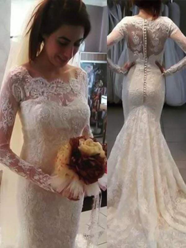Trumpet/Mermaid Bateau Long Sleeves Lace Sweep/Brush Train Wedding Dresses With Applique
