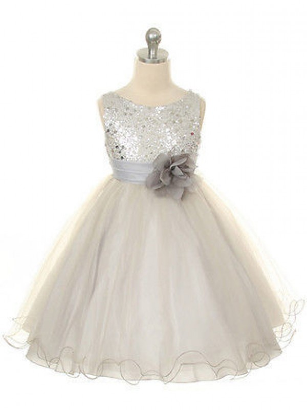 Chicregina Long Ball Gown Jewel Sleeveless Tulle Communion Dress