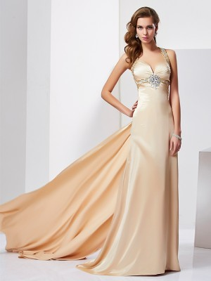 Chicregina Sheath Halter Sweep Train Silk like Satin Dress With Beading