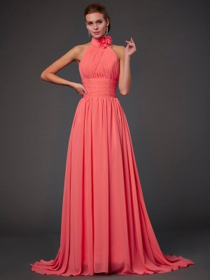 Chicregina A-Line Halter Chiffon Bridesmaid Dress With Rhinestone