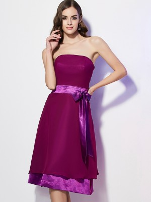 Chicregina A-Line Strapless Knee-Length Chiffon Bridesmaid Dress With Ruffles Bowknot