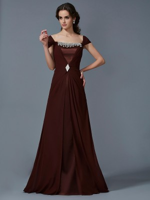 Chicregina A-Line Strapless Short Sleeves Long Chiffon Dress With Lace