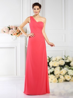 Chicregina Long A-Line/Princess One-Shoulder Chiffon Bridesmaid Dress With Sash Pleats